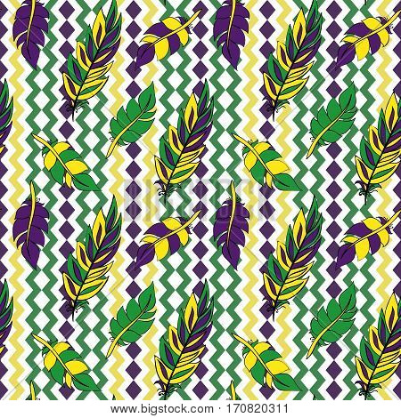 Mardi Gras seamless pattern. Colorful background with feathers and ribbons. Vector illustration