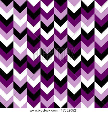 Chevron pattern seamless vector arrows geometric design in mixed order colorful black white purple lilac