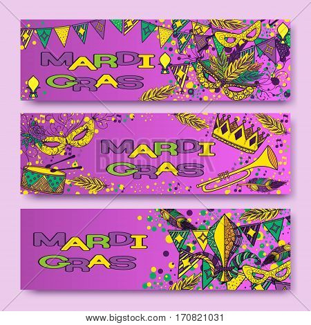 Mardi Gras or Shrove Tuesday cards with green, yellow and violet colors. Carnival mask and crowns, fleur de lis, feathers. Perfectly fit for banner, invitation, party. Vector illustration