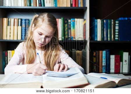 School Girl Studying With Textbooks While Writing On A Book