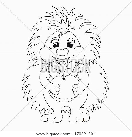 Coloring book for kids. Hedgehog with apple.