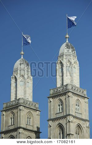 Flagged Steeple Of Grossmunster, Zurich