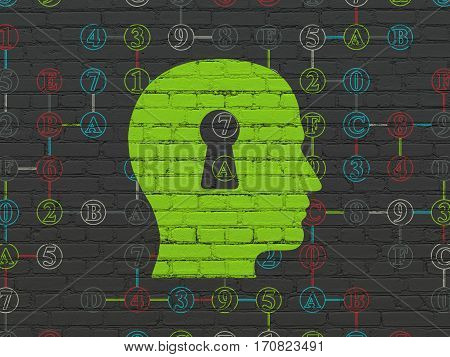 Data concept: Painted green Head With Keyhole icon on Black Brick wall background with Scheme Of Hexadecimal Code