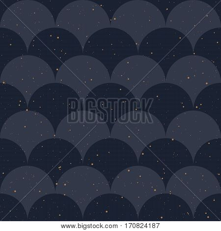 Seamless pattern. Japanese style, fish scale. Indigo colors and golden splash. Vector background for fabric, wallpaper and wrap.