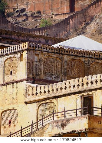 Detail of ornate buildings at the Amber Fort in Jaipur India.