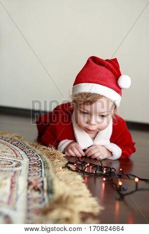 Christmas Child In Santa Hat