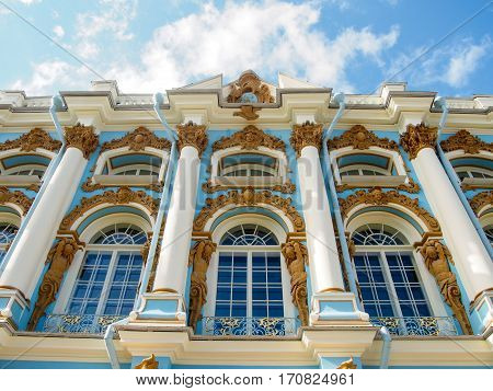 A detail of the ornate facade of Tsarskoe Selo (Catherine Palace) in Pushkin outside Saint Petersburg Russia.