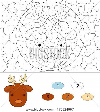 Cartoon Reindeer. Color By Number Educational Game For Kids
