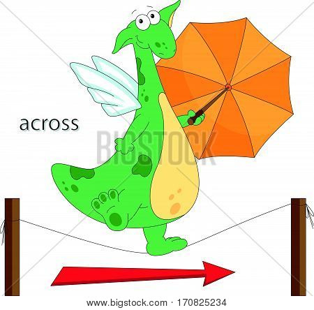 Cartoon Dragon Goes Across The The Rope. English Grammar In Pictures