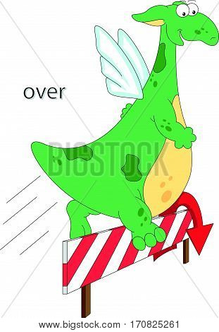 Cartoon Dragon Jumps Over A Barrier. English Grammar In Pictures
