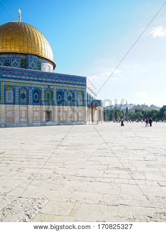 The historic landmark of the gold-domed mosque built on the disputed Temple Mount in Jerusalem Israel.