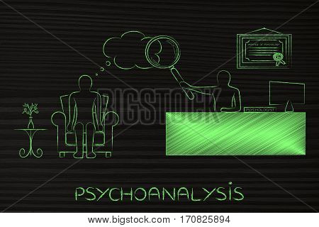 Psychologist Analyzing Patient's Thoughts With Magnifying Glass