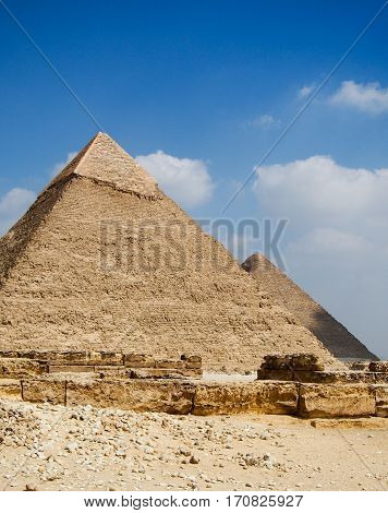 Ancient pyramid of Giza in the desert outside of Cairo Egypt.