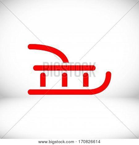 sled icon stock vector illustration flat design