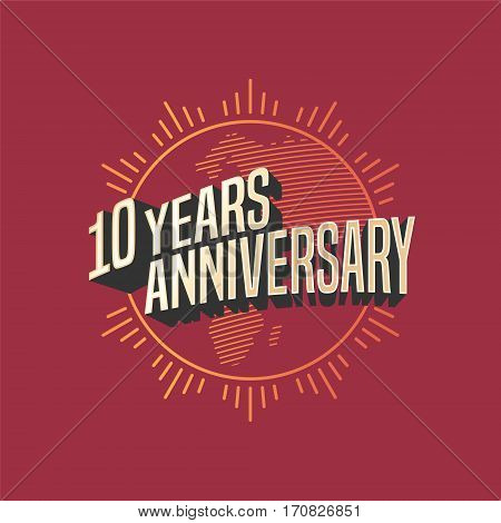 10 years anniversary vector icon, logo. Graphic design element for decoration for 10th anniversary card
