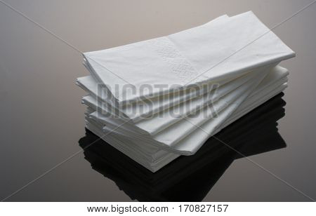 Small pile of hygenic disposable paper tissue