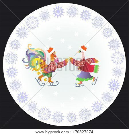 Chinese year of the rooster. Decorative plate with cockerel and duck ice skating and ornamental border.