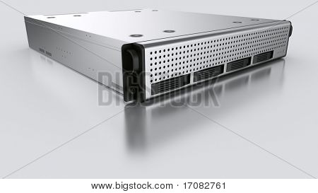 3d rendering of a rack server on white reflective ground.