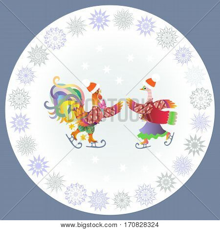 Chinese year of the rooster. Decorative plate with cockerel and duck ice skating and ornamental border .