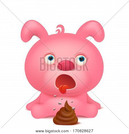 Pink rabbit emoji character with bunch of poop. Vector illustration