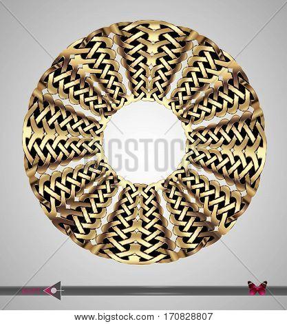 Celtic Pattern. Round Frame. Vector Ornament. Design Element