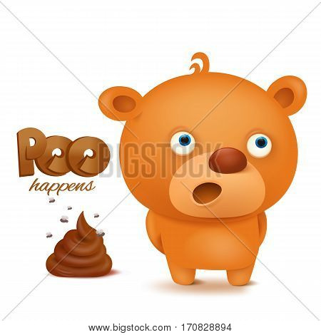Teddy bear emoji character with bunch of poop. Vector illustration