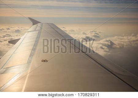 Beautiful cloudscape background from a plane window