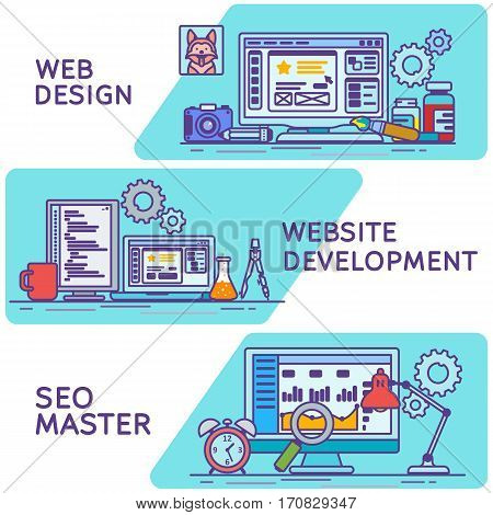 Horizontal colored line art banners for advertising in a flat style. Set banners for web. Website and apps development. Web design. Programming and coding. Search optimization SEO and marketing.