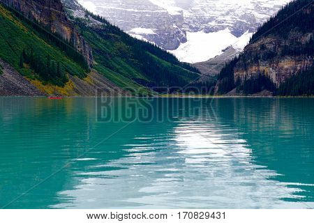 The teal blue waters of Lake Louise