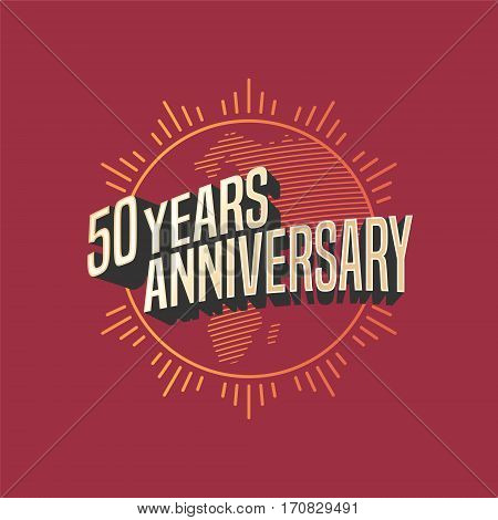 50 years anniversary vector icon, logo. Graphic design element for decoration for 50th anniversary card