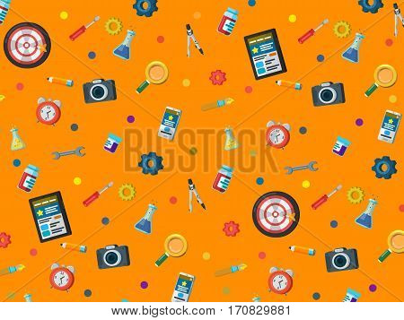 A set of elements on a orange background. Web site development background in flat style. Web design web development and SEO. Background for website or advertising creative agency.