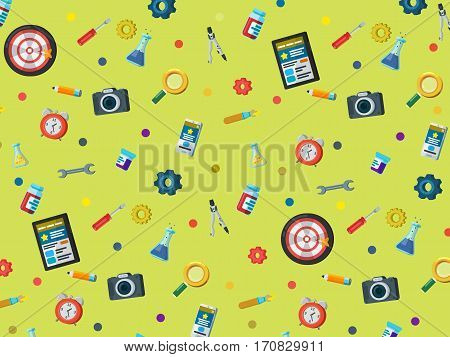A set of elements on a green background. Web site development pattern in flat style. Web design web development and SEO. Background for website or advertising creative agency. Vector illustration