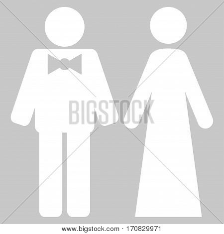 Just Married Persons vector icon symbol. Flat pictogram designed with white and isolated on a silver gray background.