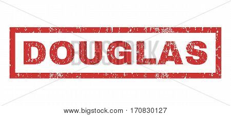 Douglas text rubber seal stamp watermark. Tag inside rectangular shape with grunge design and dust texture. Horizontal vector red ink sign on a white background.