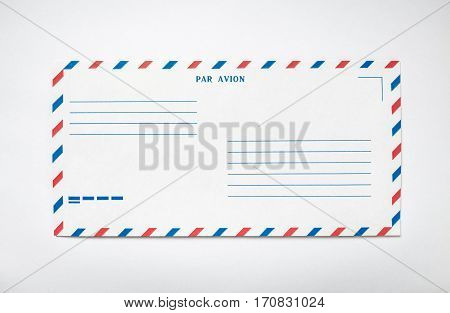 Blank airmail envelope on a white background, front view