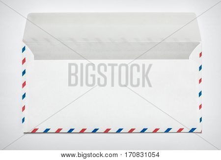 Blank airmail envelope on a white background, rear view