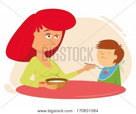 family dinner. mother feeds the child, vector