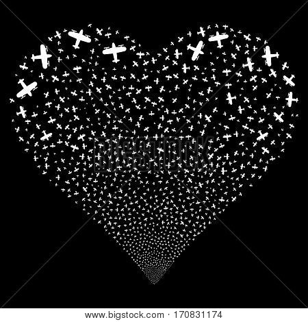 Aircraft fireworks with heart shape. Vector illustration style is flat white iconic symbols on a black background. Object stream organized from random icons.
