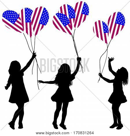 Girls silhouettes with USA patriotic balloons on white background