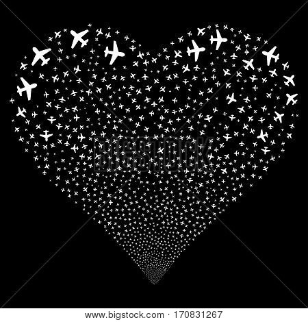 Airplane fireworks with heart shape. Vector illustration style is flat white iconic symbols on a black background. Object valentine heart constructed from scattered symbols.
