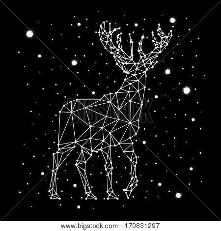 starry sky constellation deer animal vector art