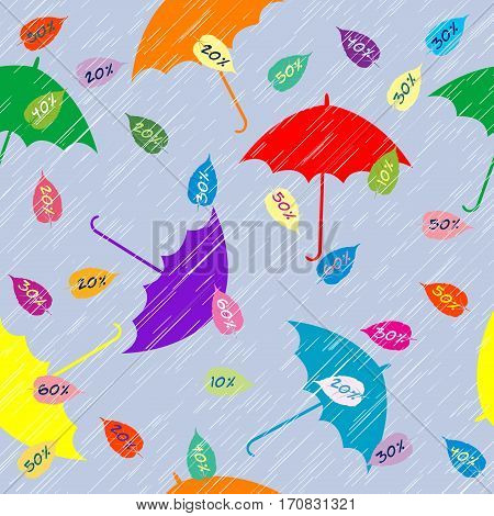 Autumn sales background with leaves and umbrellas
