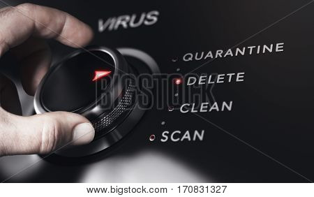 Hand turning a button with the title virus. Antivirus protection system concept horizontal image. Composite between an image and a 3D background.