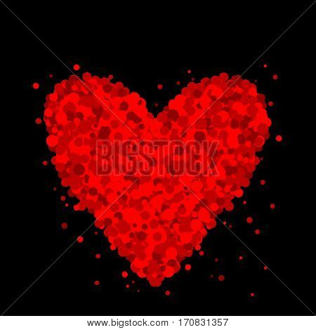 Heart made of dots on black background