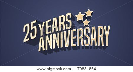 25 years anniversary vector icon, logo. Gold color graphic design element for 25th anniversary birthday card with stars and 3d lettering