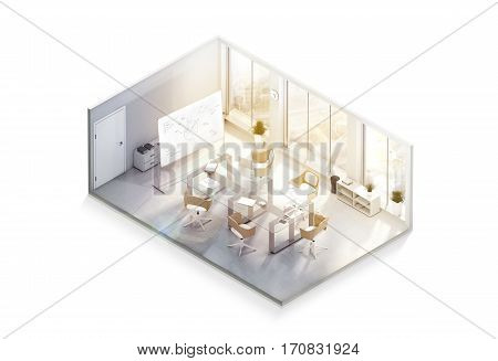 Modern office interior design mockup isometric view isolated 3d rendering. Empty conference room mock up isometry side. Realistic business work place with desk board windows and laptops rendered