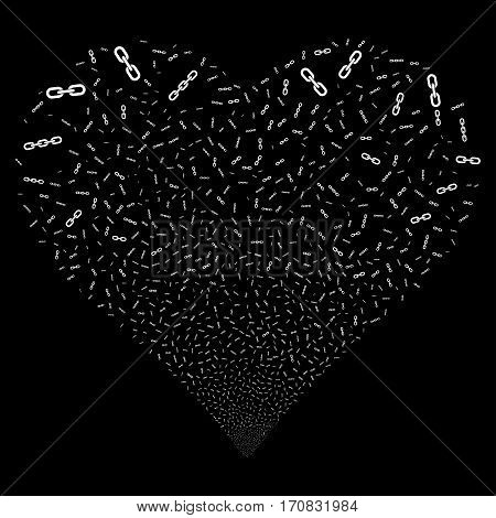 Chains fireworks with heart shape. Vector illustration style is flat white iconic symbols on a black background. Object love heart created from confetti symbols.
