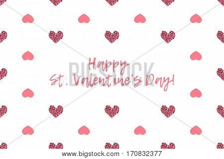 Valentine greeting card with text and pink hearts. Inscription - Happy St. Valentines Day
