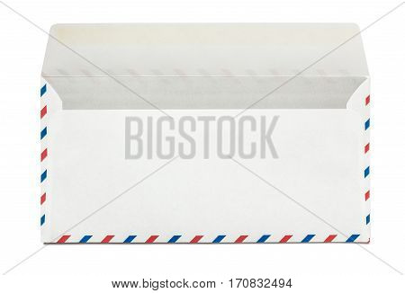 Blank airmail open envelope isolated, rear view