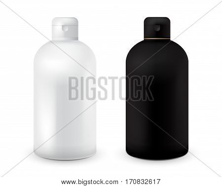Set of black and white plastic bottle template for shampoo, shower gel, lotion, body milk, bath foam. Ready for your design. Realistic cosmetic container for lotion. Mock up bottle